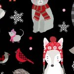 Winter Woodland Animals - Black