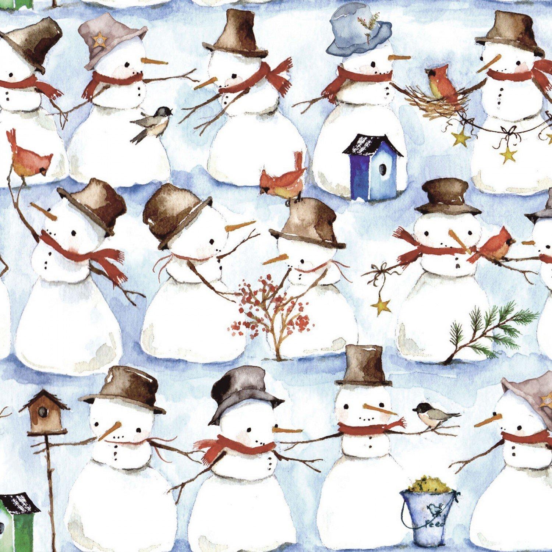 Winter Snowmen Wreaths - Multi Allover Snowmen
