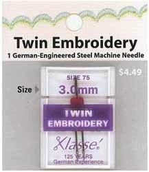 Klasse Needles- Twin Embroidery 3.0mm/75