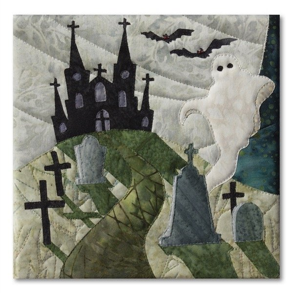 Halloweenies Quilt Block Six: Ghost In The Graveyard