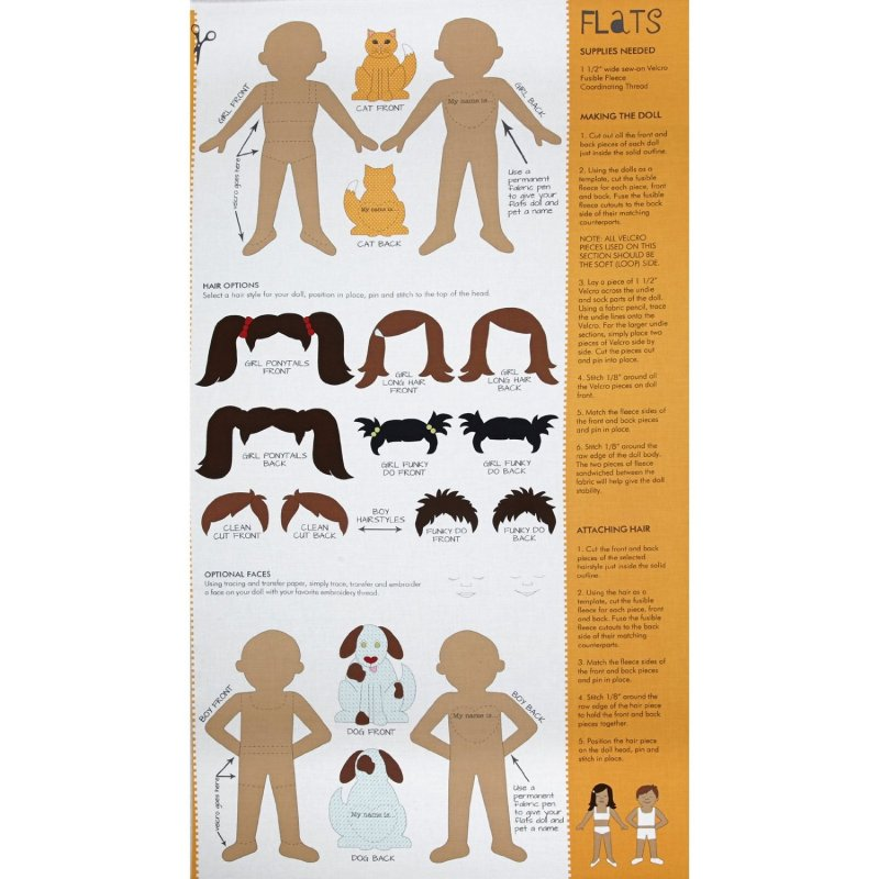 Flats Doll Panel with Project Sheet- Butterscotch