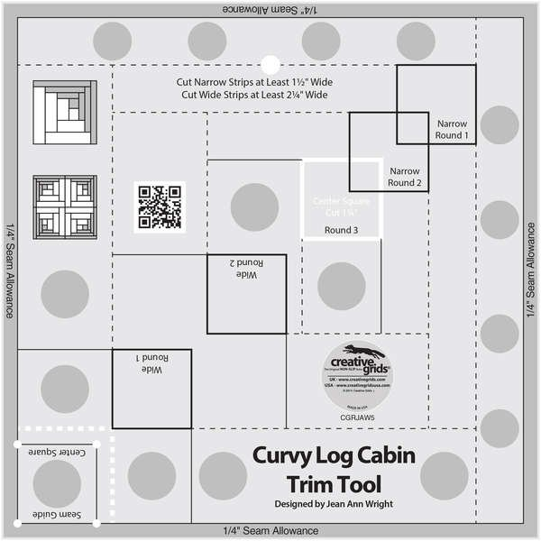 Creative Grids Curvy Log Cabin Trim Tool 8in Finished Blocks