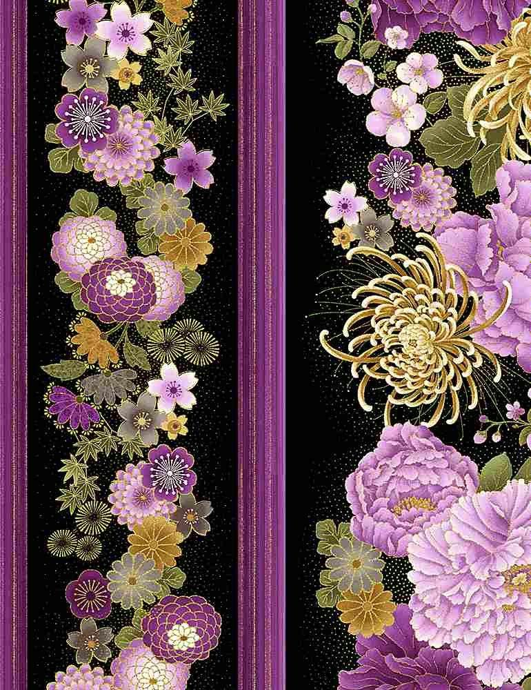 Japanese Purple Floral 11 inch Stripe- CM8809