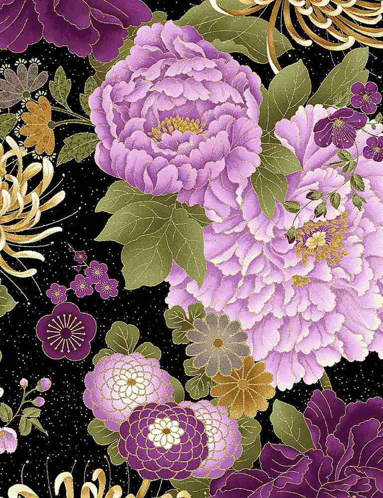 Japanese Purple Floral Large- CM8810 Black