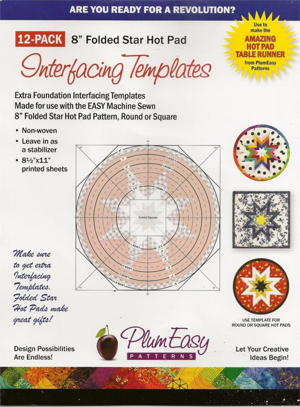 8 Inch Folded Star Hot Pad Interfacing Templates-12 Pack