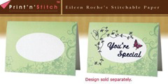 Green Oval Print N Stitch Notecards