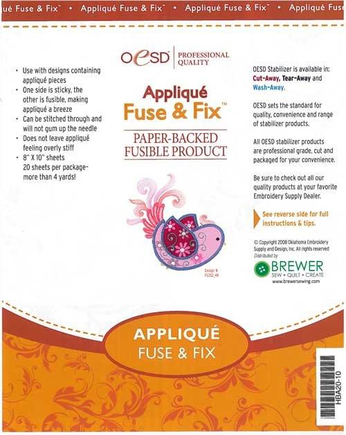 Applique Fuse & Fix Cut-Away White - 10 Sheets