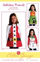 Holiday Friends Child's Apron Pattern Plus Button Pack