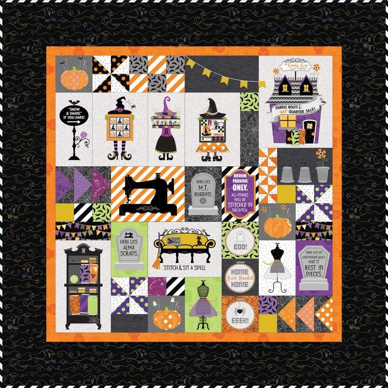Candy Corn Quilt Shoppe Kit- Includes Quilt Top Fabrics, Backing & Embellishments
