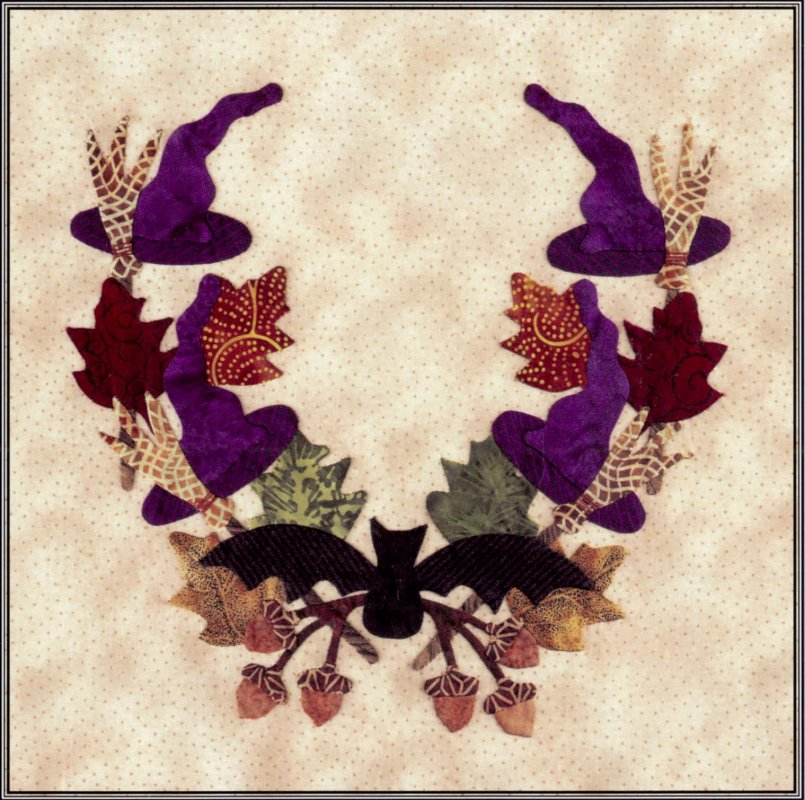 Baltimore Halloween-Pattern-Hats and Brooms Wreath