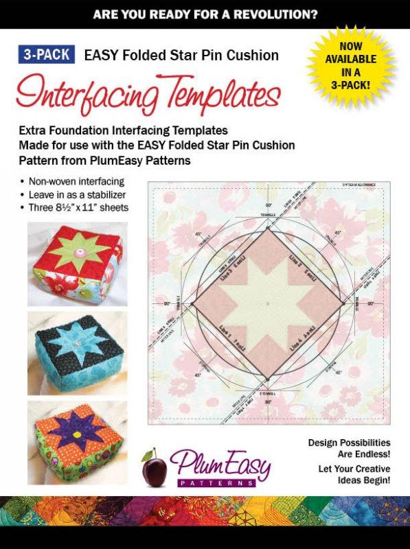 Folded Star Pin Cushion Interfacing Templates-3 Pack