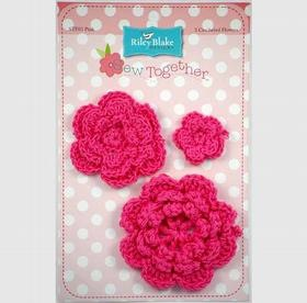Crocheted Flowers- Hot Pink