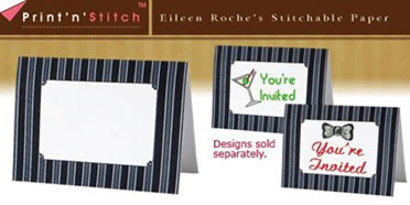 Grey Pinstripe Print N Stitch Notecards