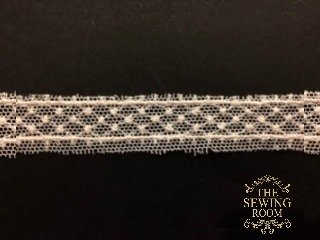 English Net Ecru Insertion - Small Dotted Diamond -  1/2 Wide