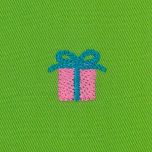 Gift Box on Lime Embroidered Twill Fabric