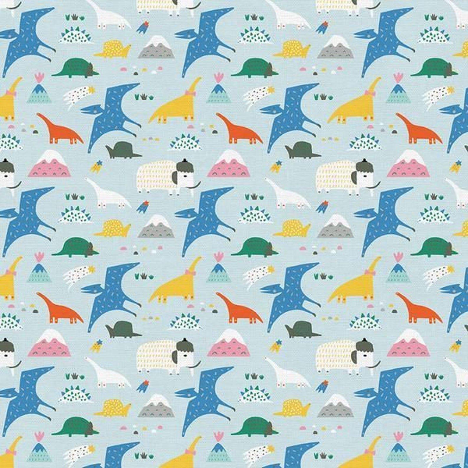 Animal Alphabet Dinosaurs Blue Fabric by Paintbrush Studios