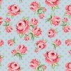 Dots & Posies Prize Roses Blue Fabric by Poppie Cotton