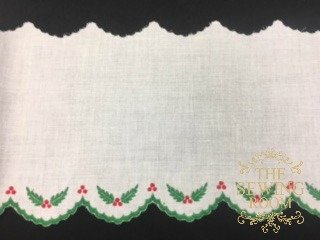 Swiss White Edging - Holly Berries - 6 Wide