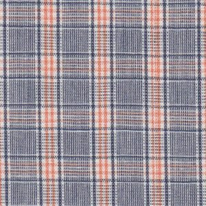 Orange, Navy and White Plaid Fabric by Fabric Finders