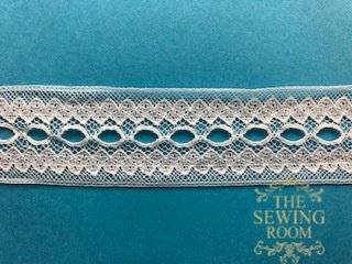 French White Insertion with Beading-Swirls and Swirls 1 and 1/8 Wide