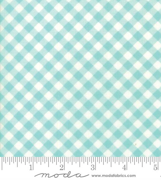 Little Snippets Aqua Little Bias Gingham Lawn Fabric