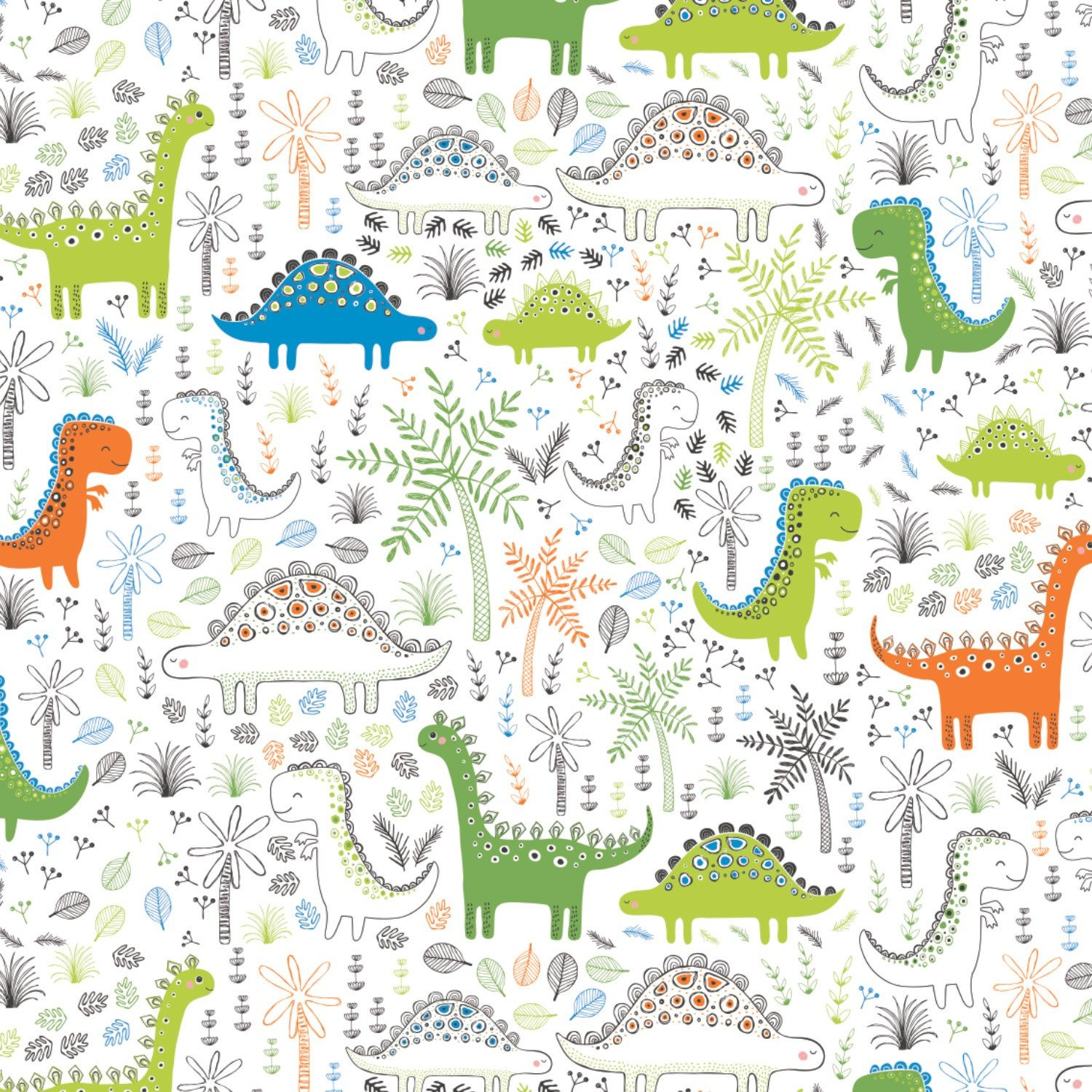 Roarsome Dinosaurs in Forest Fabric
