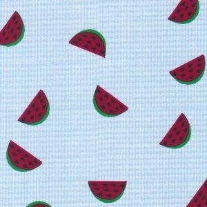 Watermelon Print Blue Microcheck Fabric