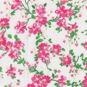 Pink and Green Floral Pique Fabric by Fabric Finders