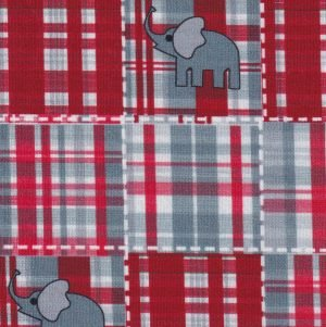 Elephants on Red and Grey Plaid Fabric by Fabric Finders