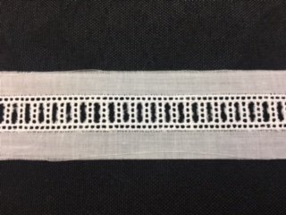 Swiss White Entredeux Beading By Bear Threads - 3/8 Wide, 1/4 Ribbon