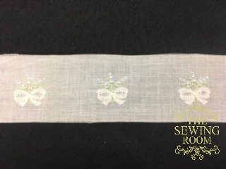 Swiss White Insertion - Handloom White Bow with Blue Flowers