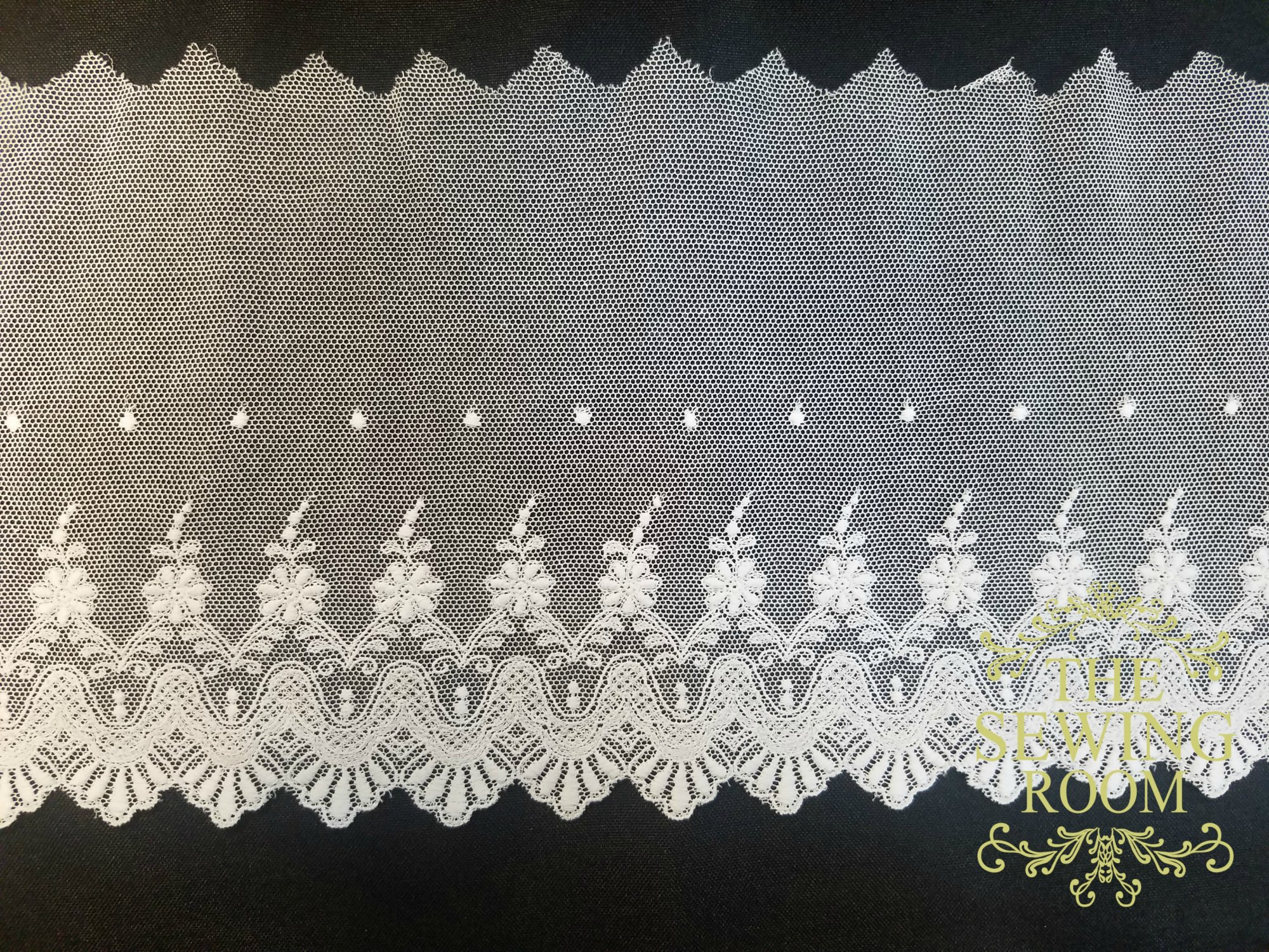 Spanish Net White Edging - Flowers Dots- 6 and 3/4 Wide