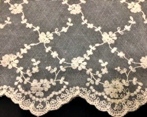 English Net Ecru Edging -Flowing Flowers - 7 Wide