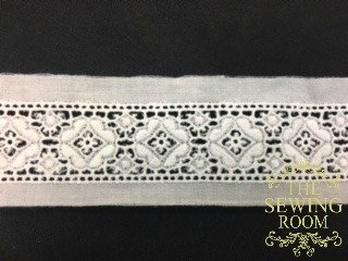 Spanish White Insertion - Flower Tiles - 1 and 7/8 Wide