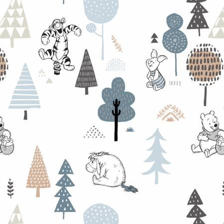 White Disney Pooh Forest Friends Bamboo Flannel Fabric