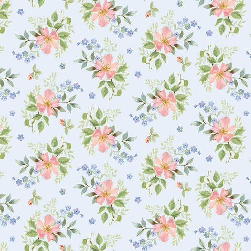 Garden Inspiration Tossed Small Roses Blue Fabric