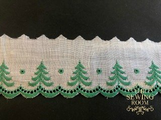 Swiss White Edging - Green Trees - 1 and 3/4 Wide