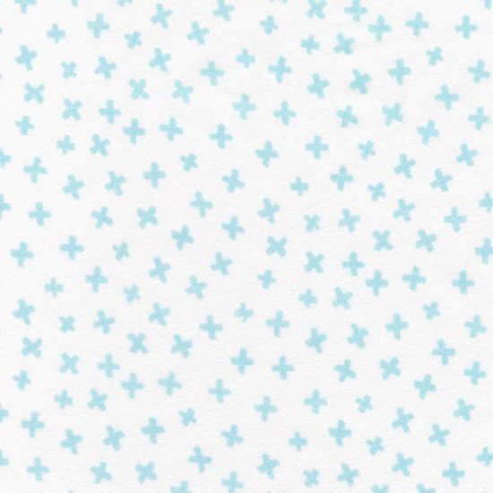 Penned Pals Blue Flannel Fabric by Robert Kaufman