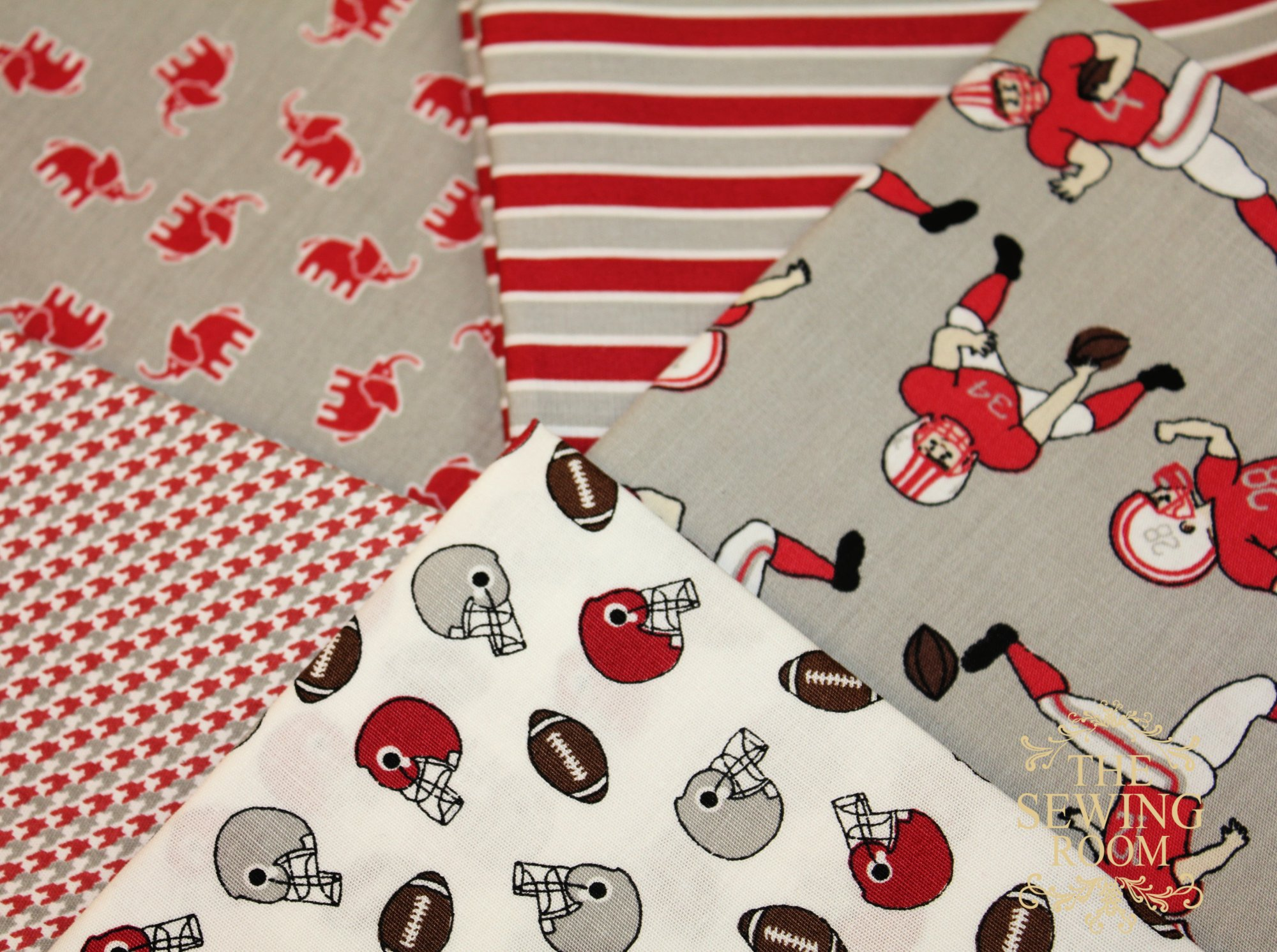 Gameday Fat Quarter Bundle - Red, White and Grey