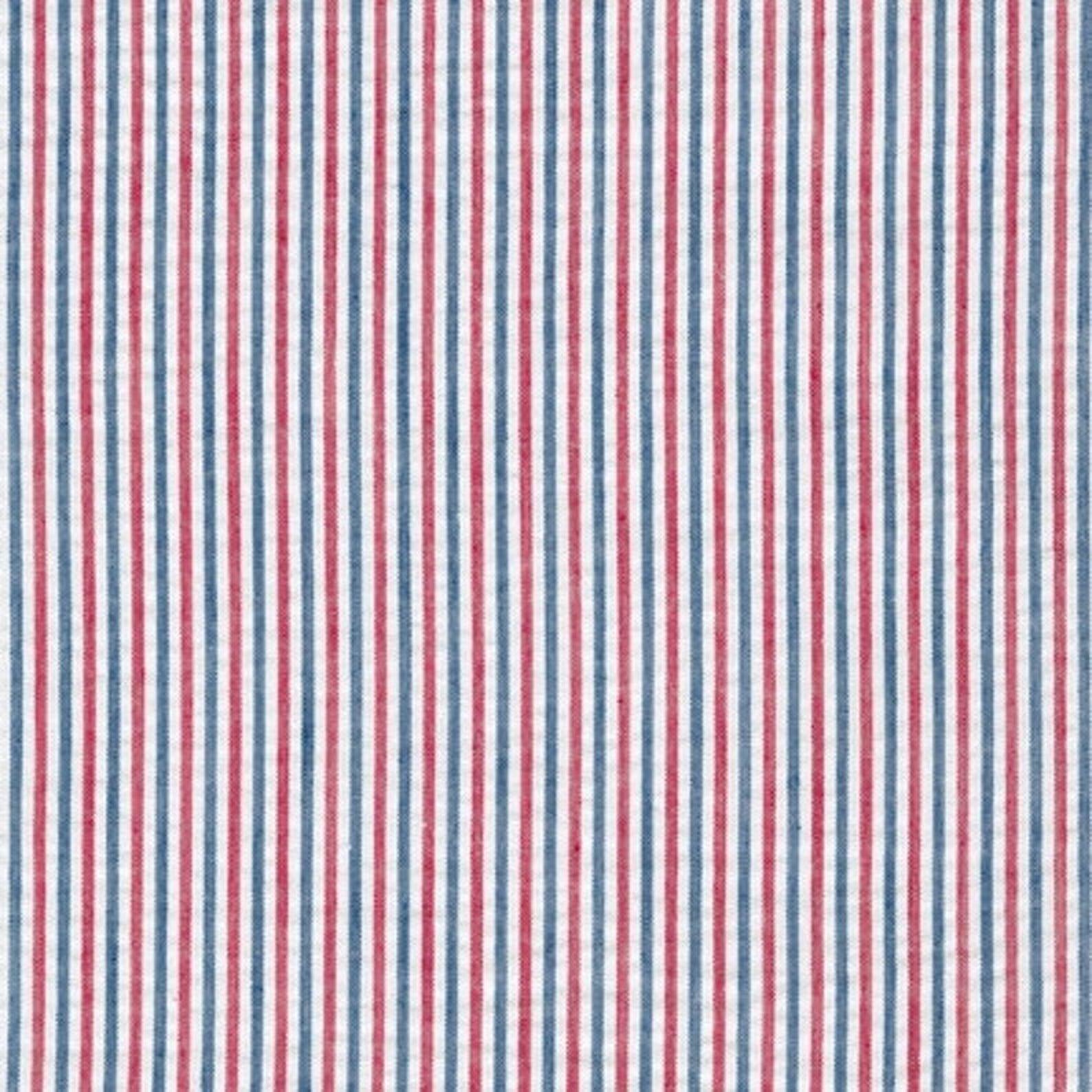 Remnant: Americana Stripe Seersucker Fabric by Robert Kaufman - 3/4 yard