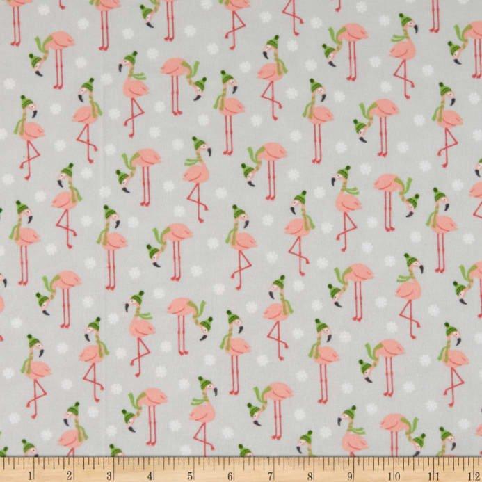 Bundled Buddies Flamingo Gray Flannel Fabric by Robert Kaufman