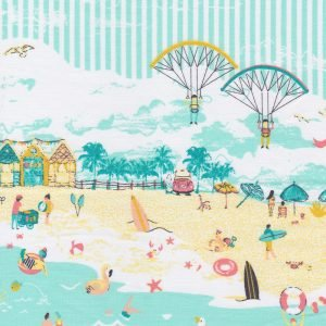 Beach Themed Border Print in Aqua Yellow and Orange Fabric