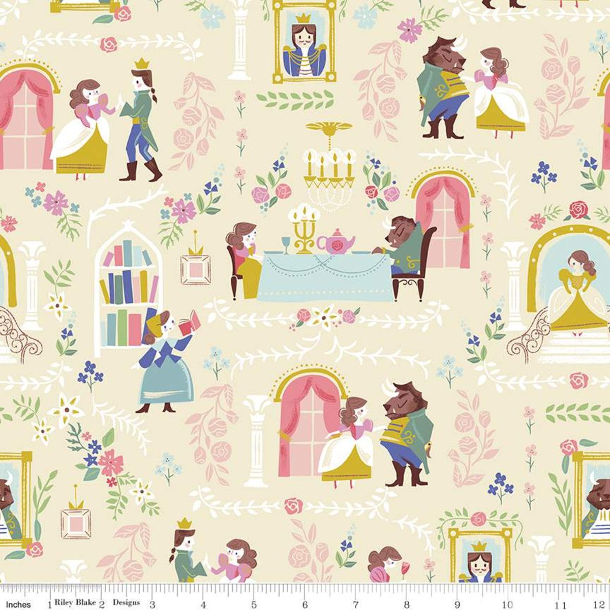 Beauty & the Beast Main Cream Fabric by Riley Blake