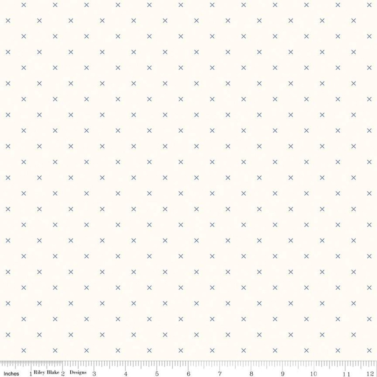 Bee Backgrounds Cross Stitch Blue Fabric by Riley Blake