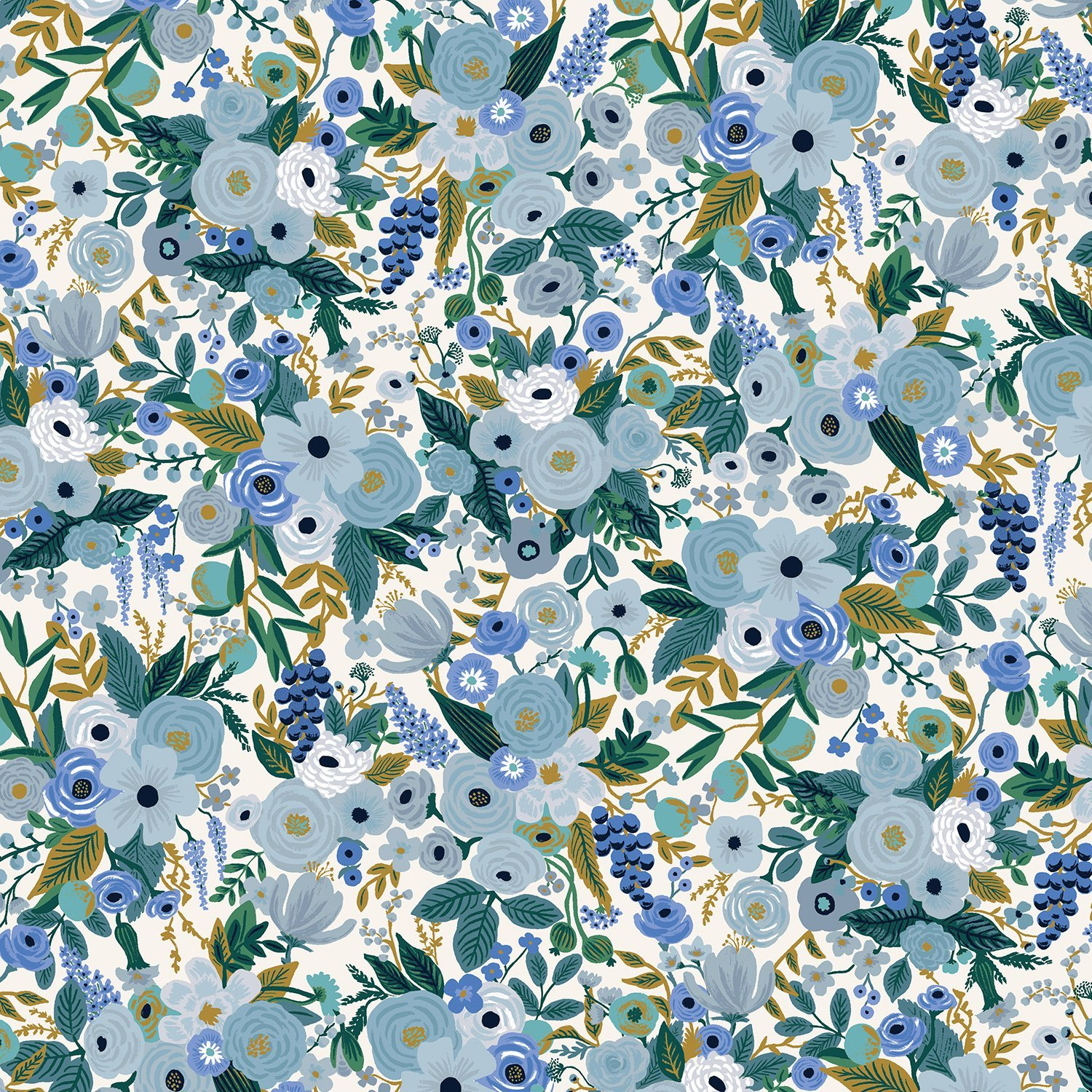 Garden Party - Petite Garden Party - Blue Fabric by Cotton + Steel