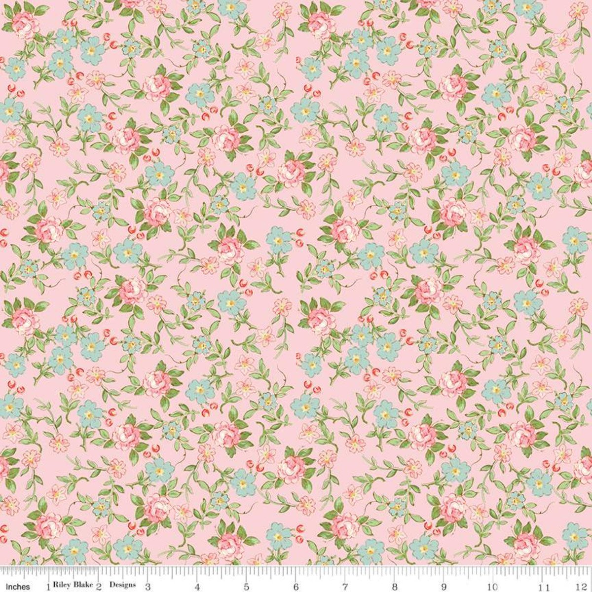 Rose & Violets Garden Sweet Blossoms Blush Fabric by Riley Blake