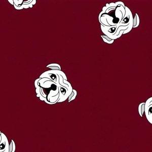 English Bulldog Crimson Fabric by Fabric Finders