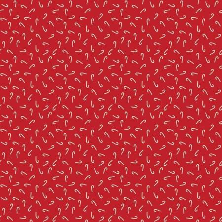 Santa Claus Lane Candy Canes Red Fabric by Riley Blake