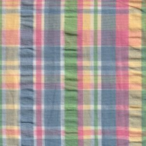 Multi-Color Plaid Seersucker Fabric