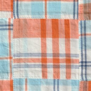 Blue and Orange Patchwork Fabric
